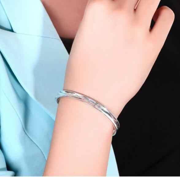 Omhxzj卸売ジュエリーファッションバラ花女性kpopスター925スターリングシルバーオープニング調節可能なブレスレット腕輪ギフトsz14