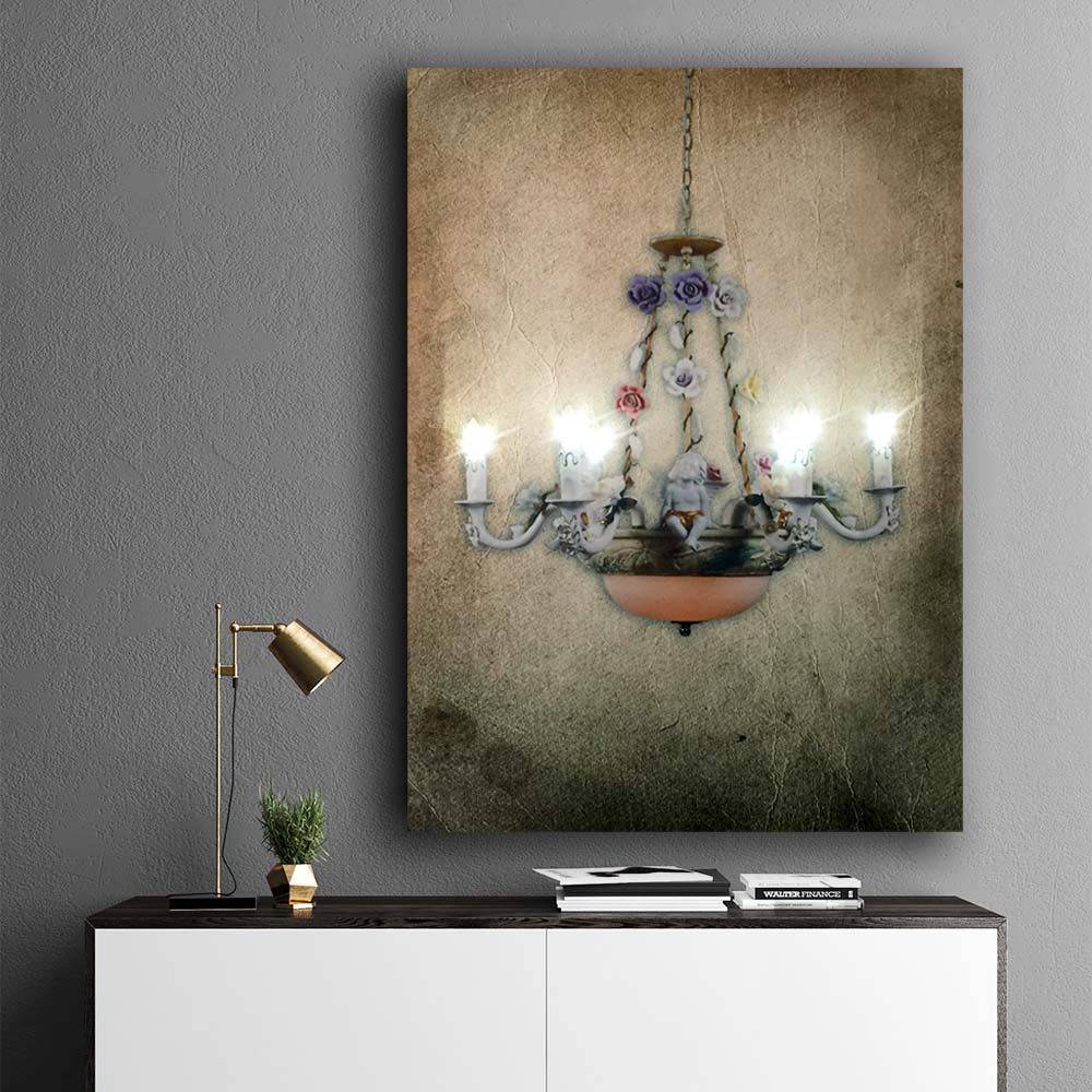 Led Wall Picture Retro Background Crystal Chandelier With Flowers Design Canvas Art Light Up Painting Artwork