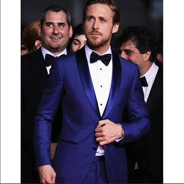 2016 mens royal blue suits for wedding groom shiny stain collar ...