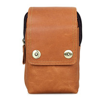 Genuine Cow Leather Fashion Brown Portable Bag Mens Phone Case High Quality Waist 5003B