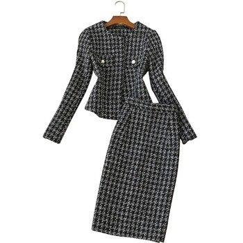 Женский комплект из 2 предметов, осенне-зимний профессиональный костюм с длинным рукавом, твидовая куртка, шерстяная юбка с высокой талией