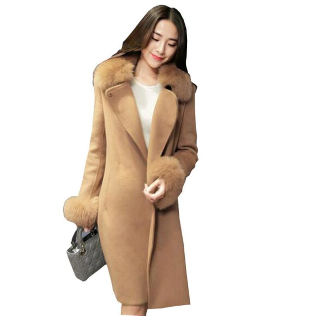 2016 otoño invierno abrigo de lana de lujo gran cuello de piel sintética delgado elegante de las señoras de largo abrigo de lana mujeres chaqueta de lana kp1261