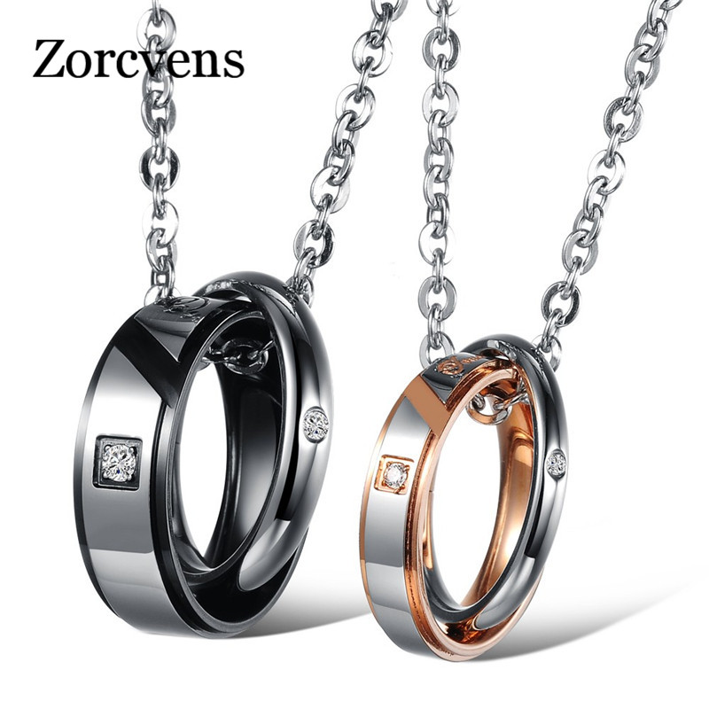 ZORCVENS Fashion Cubic Zirconia Jewelry Circle Moon Chain Gold Color Steel Lovers Couple Necklaces & Pendants For Women Men