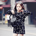 2017 Top Moda Oferta Especial Grandes Vestidos de Las Muchachas Estrella Patrón Ocasional de la Ropa de Los Cabritos del Algodón Vestidos Para Niñas 3-18y Q58