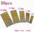 Free shipping 50Pcs Titanium Coated HSS High Speed Steel Drill Bit Set Tool 1/1.5/2/2.5/3mm QSTEXPRESs