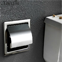 Xueqin Wall Mount Concealed Install Toilet Paper Holder Inside Wall Mounted Bathroom Roll Tissue Paper Rack