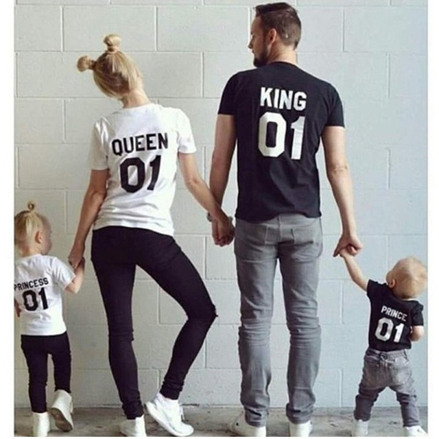 Father Mother Daughter Son Clothes Cotton Short Sleeve T-shirt