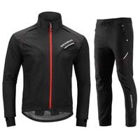 ROCKBROS Cycling Jacket Set Long Sleeve Sportswear Cycling Clothings Winter Fleece Thermal Reflective Bike Bicycle Jackets