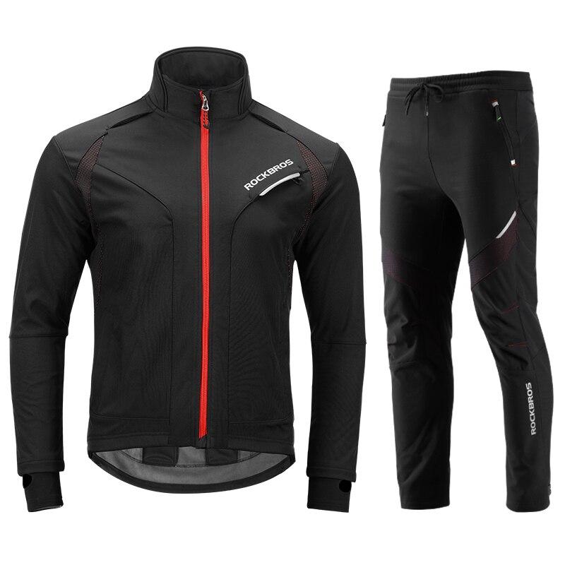 ROCKBROS Cycling Jacket Set Long Sleeve Sportswear Cycling Clothings Winter Fleece Thermal Reflective Bike Bicycle Jackets цена