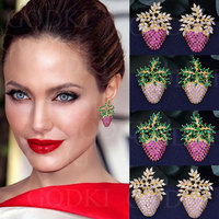 GODKI Elegant Strawberry Leaf Fashion Multicolor Cubic Zirconia Women Wedding Engagement Dress Earrings