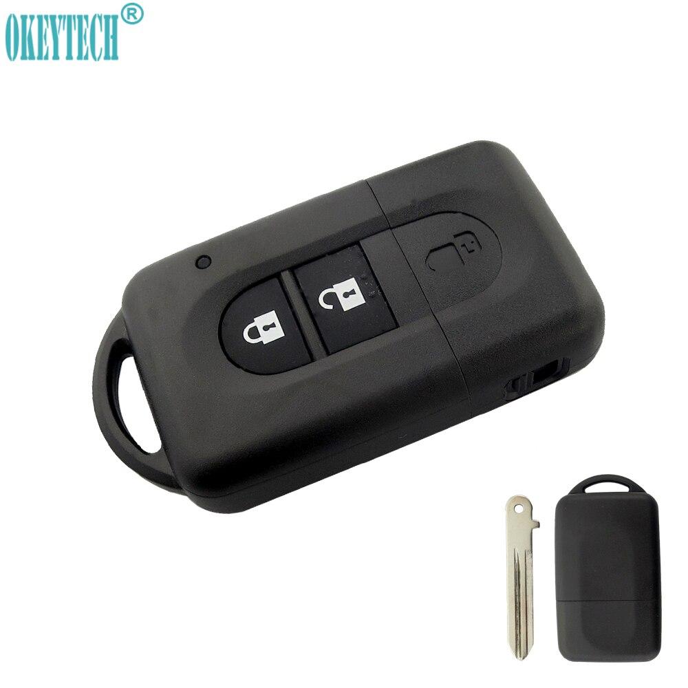 OkeyTech 2 Buttons Replacement Car Key Cover Smart Remote Key Fob Case Shell For Nissan Micra Xtrail Qashqal Juke Duke Navara