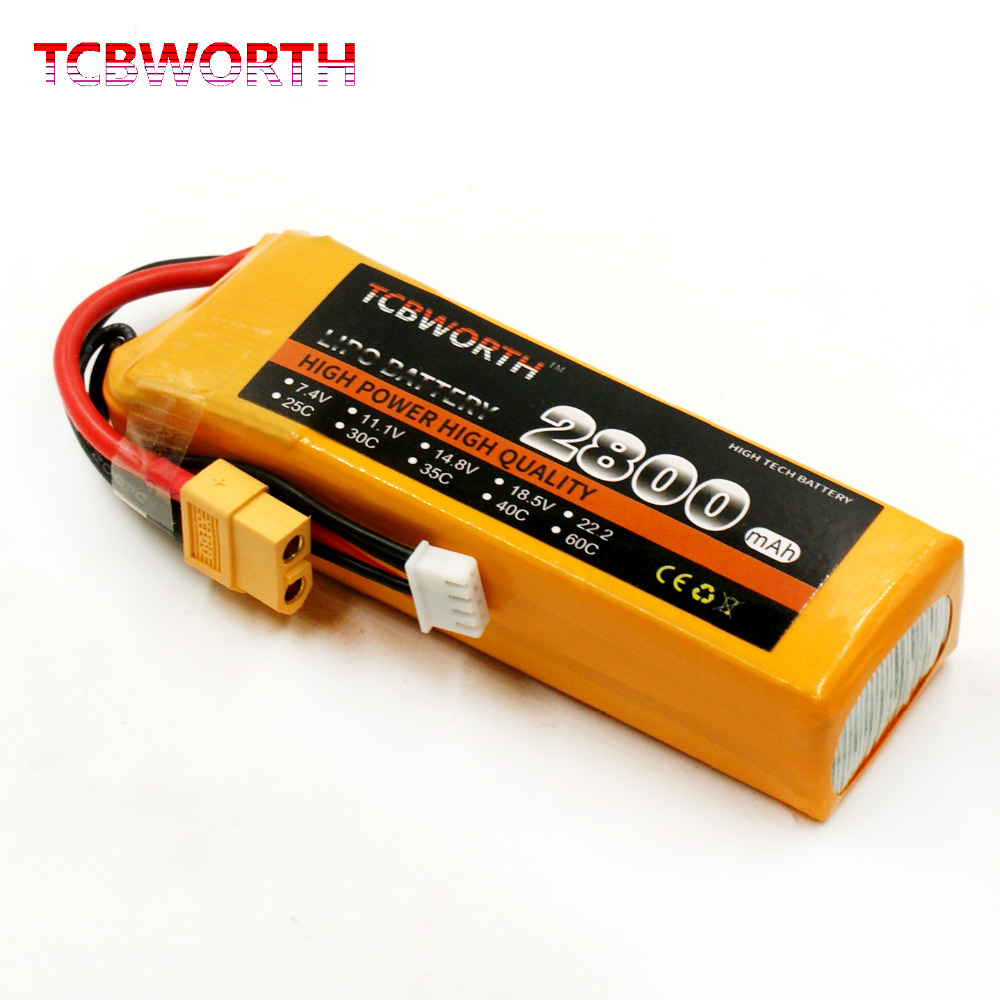 TCBWORTH 11.1V 2800mAh 30C RC 3S LiPo battery For RC Airplane Quadrotor Helicopter Li-ion battery mos rc airplane lipo battery 3s 11 1v 5200mah 40c for quadrotor rc boat rc car