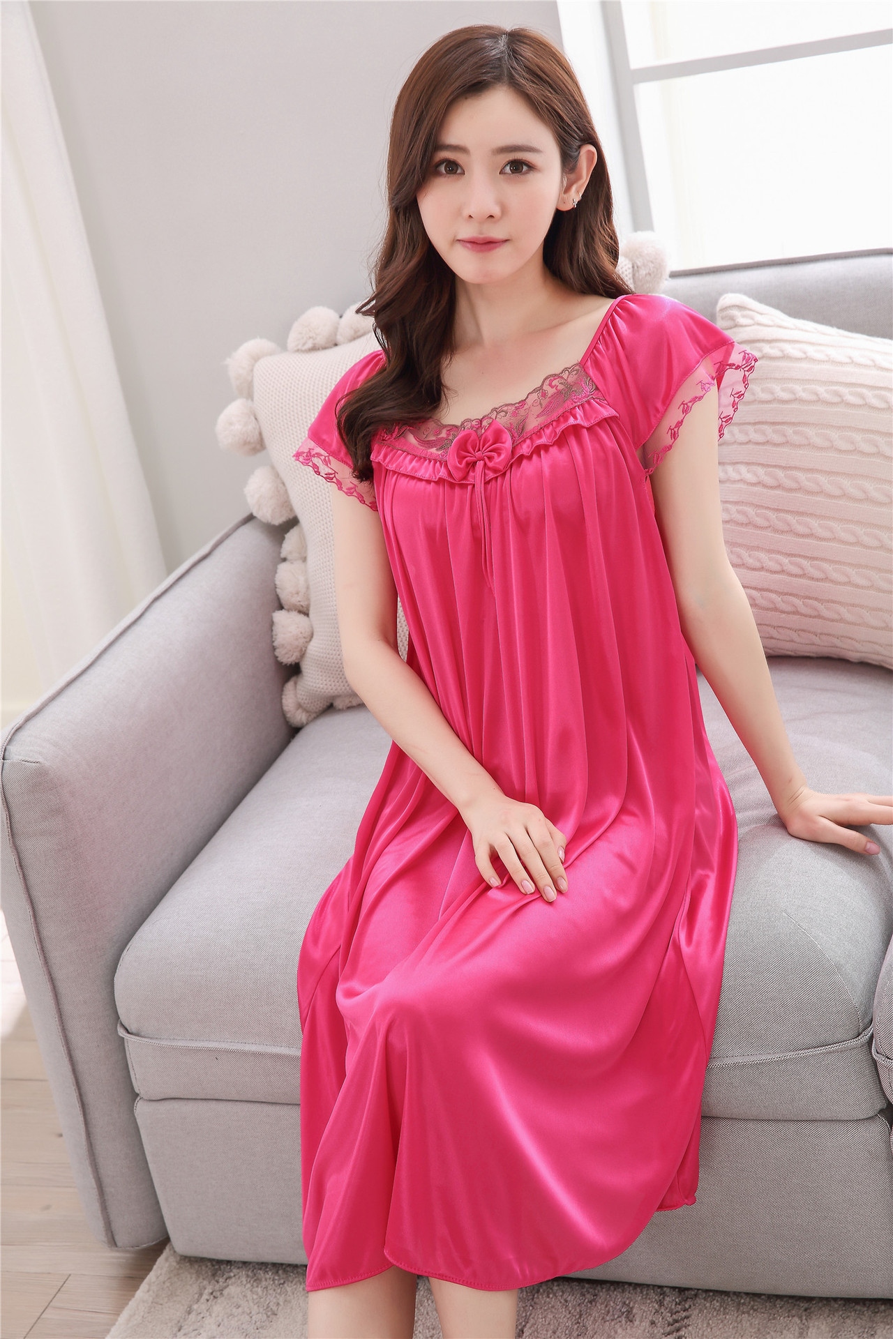 2018 summer Solid color sexy women ice silk nightgown lady short sleeve lace  sleepwear ladies size fat mm loose long nightdress 31266d702