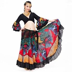 Image 3 - 2018 Hoge Kwaliteit Goedkope Gypsy Buikdans Rokken Voor Vrouwen Grote Bloemen Dans Kostuum NMMQB01