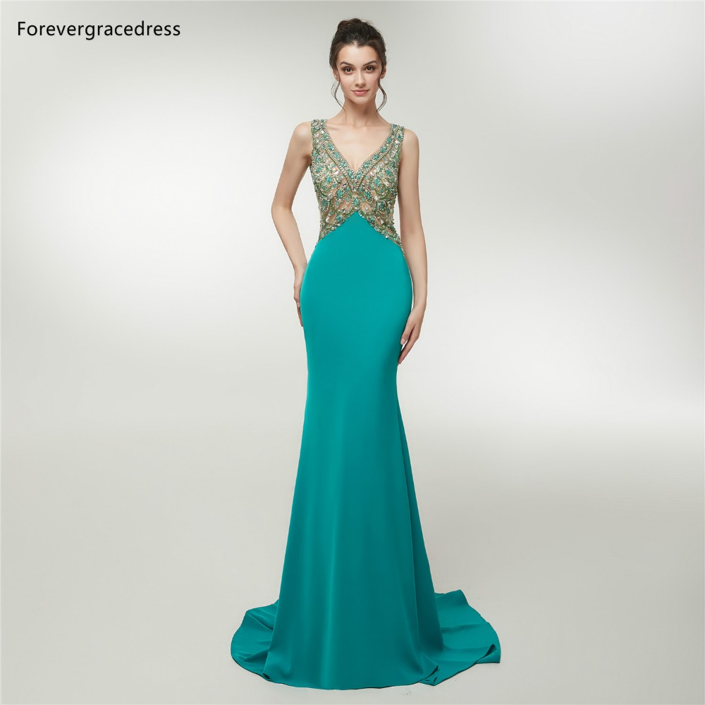 Forevergracedress Hunter Green Mermaid   Prom     Dresses   2019 V Neck Beading Backless Formal Party Gowns Plus Size Custom Made