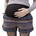 Геометрическая Национальный Стиль Шорты Gestantes с Карманами Зимние Шорты Premama Плюс Размер Одежда для Беременных Беременность Шорты