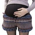 Estilo Nacional geométrica Cortos para Gestantes con Bolsillos Invierno Pantalones Cortos Premama Plus Tamaño Ropa de Embarazo de Maternidad Pantalones Cortos