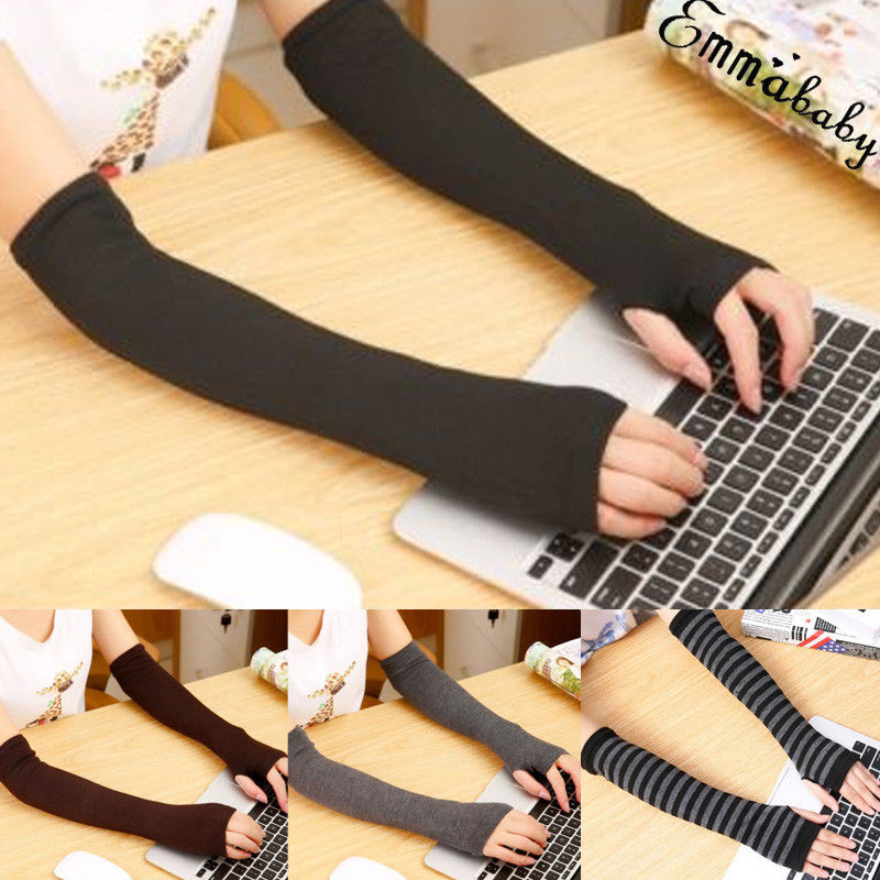 Women Winter Warm Gloves Cute Protection Arm Warmer Long Fingerless Stretchy Gloves Sleeves Mittens Apparel Accessories