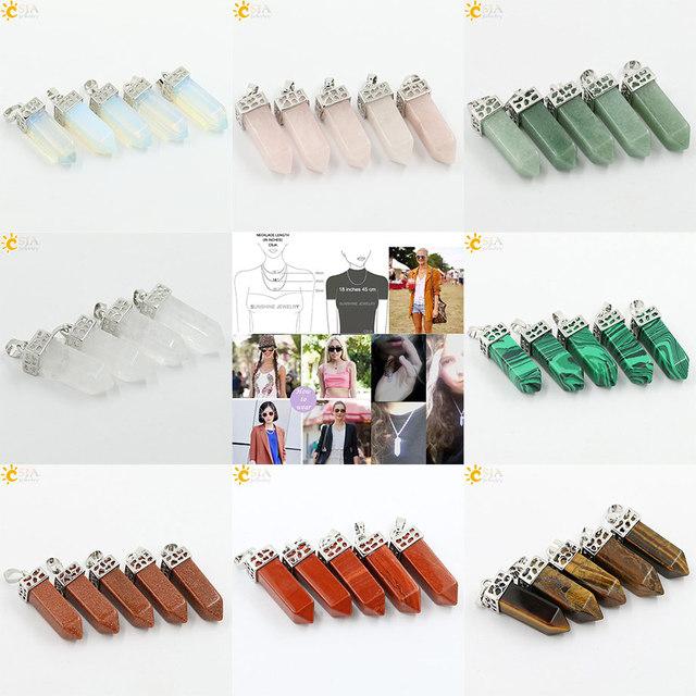 CSJA 8 Colors Pendulum Natural Gem Stone Drop Pendant Chain Power Necklace Pink Crystal Women Jewelry Accessories Men Gift E115
