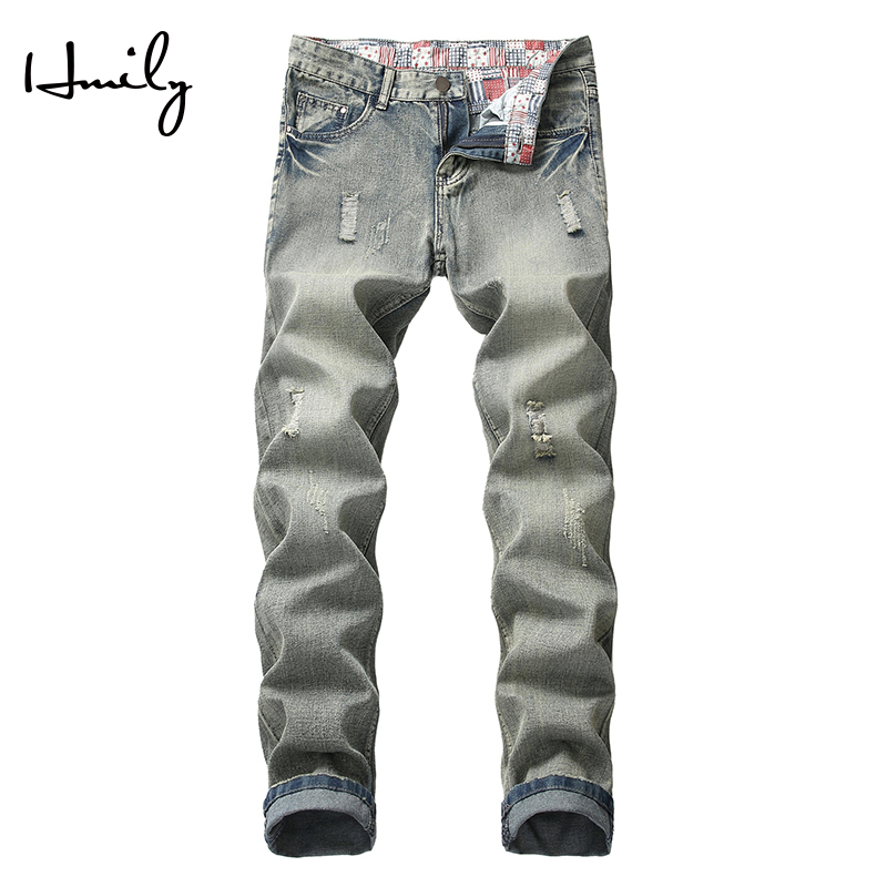 HMILY Stretch Hole Small Feet Jeans Men Cotton Jean Men's Pants Vintage Hole Cool Trousers Guys Summer Trousers Male