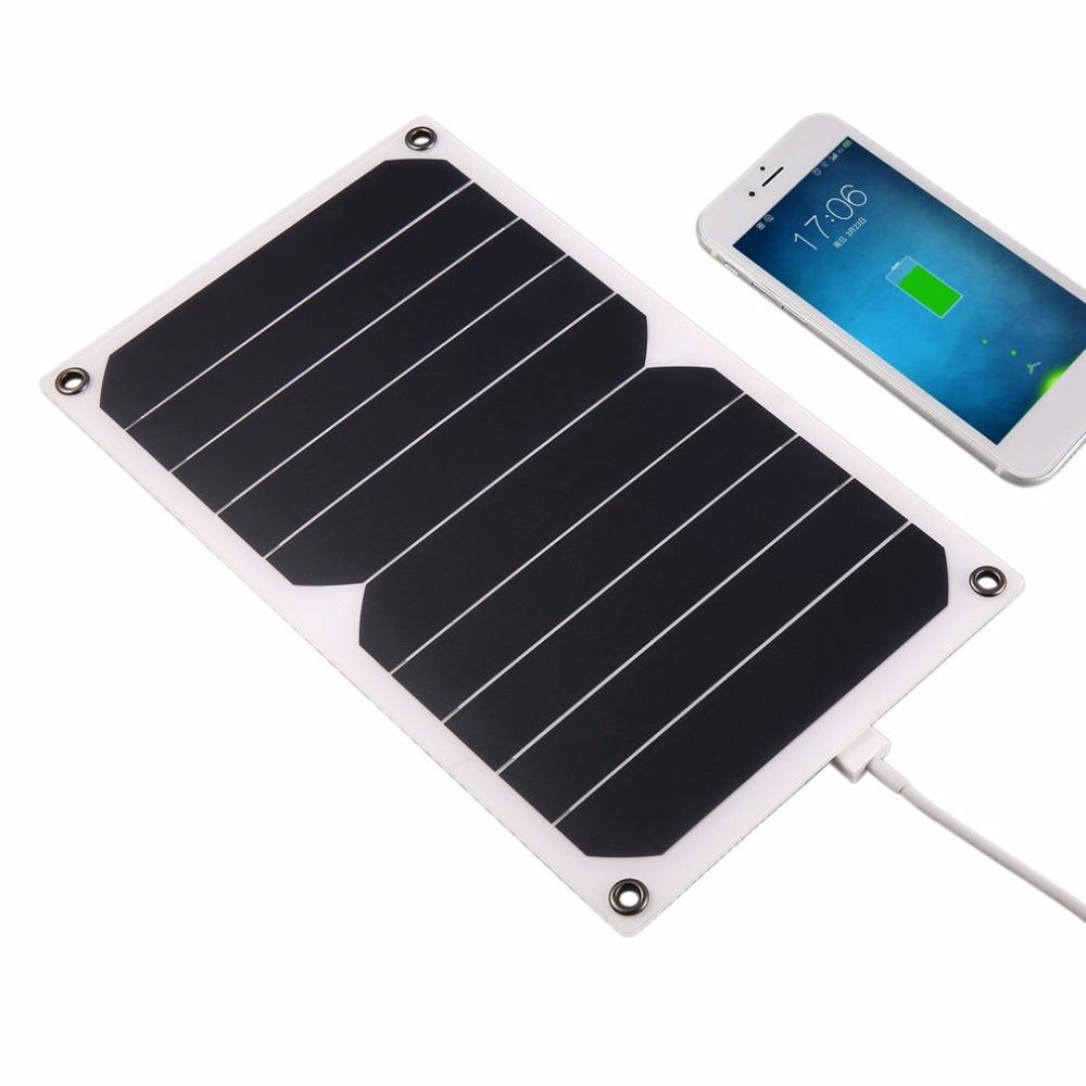 Universal 5W Solar Charger for USB Device High Efficiency Portable Solar Panel with USB Port and Carabiner Sucker