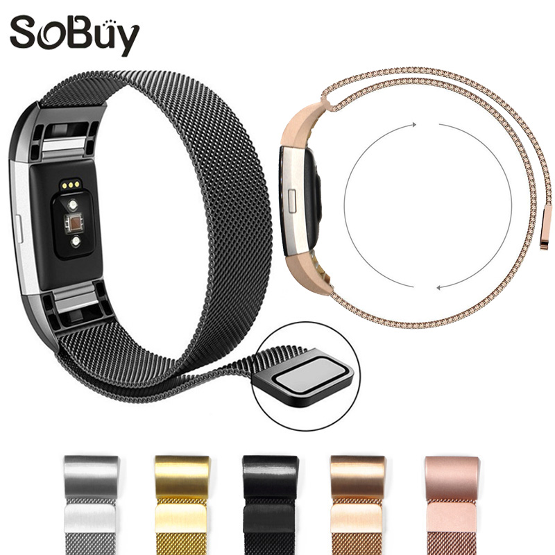 IDG Magnetic Milanese Loop Wrist strap Bracelet Stainless Steel Band Adjustable large Small for Fitbit Charge 2 Sports 2016 new genuine leather soft wrist band watch strap for fitbit charge 2 tracker large small bracelet replacement acessory