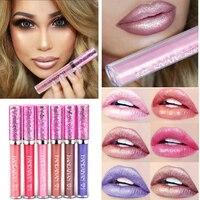 HANDAIYAN 6Colors Makeup Metallic Waterproof Diamond Shine Lipstick lip Gloss long lasting liquid lipstick lipgloss Cosmetics