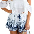 2017 New Vintage Bohemia Style Flared Shorts Elastic High Waist Pleated Shorts Womens Loose Summer Beachwear