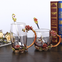 Glass Cup Mugs Tea Wedding Glasses Rose Cups Enamel Color Crystal Glass Heat Resistant Cups Juice