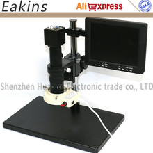 Wholesale prices 2.0MP USB VGA Industry microscope Camera+180X C-Mount Lens+56 LED Ring Light+Big Stand Holder+8-inch display For IC phone pcb