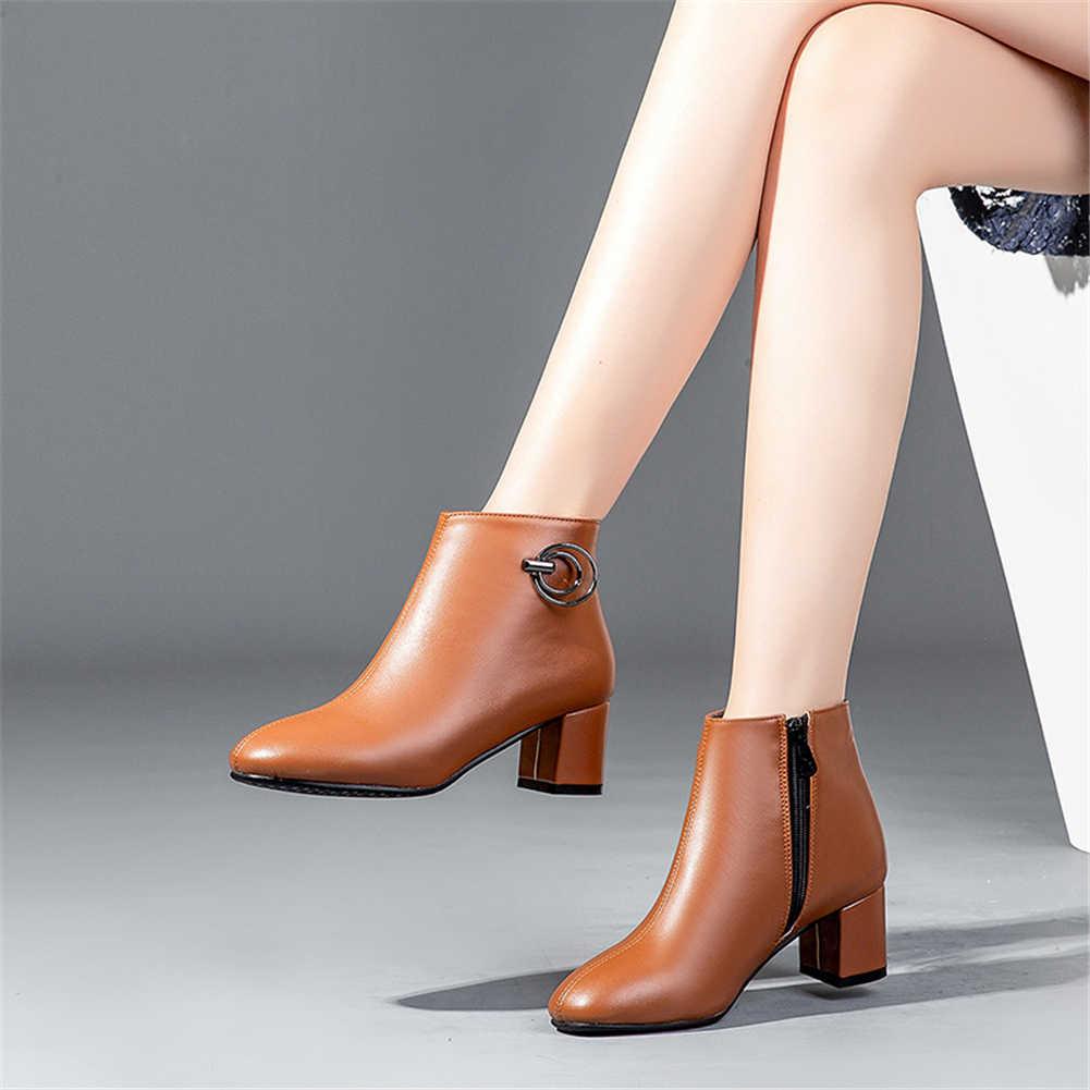 DoraTasia Popüler Klasik Kadın yarım çizmeler Artı Boyutu 32-43 6.5 cm Yüksek Kare Topuklu Beyaz çizmeler kadın ayakkabıları