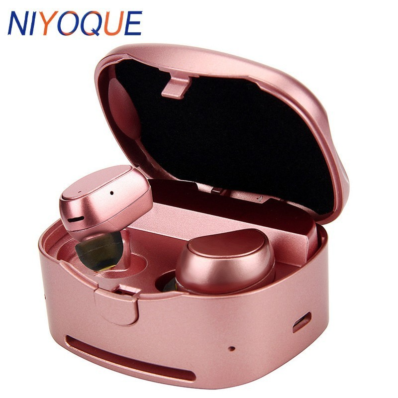 NIYOQUE Mini Wireless Earphones Headset TWS Bluetooth Headphones Twins Stereo Earbuds With Charging Box For IPhone X 8 7 Plus