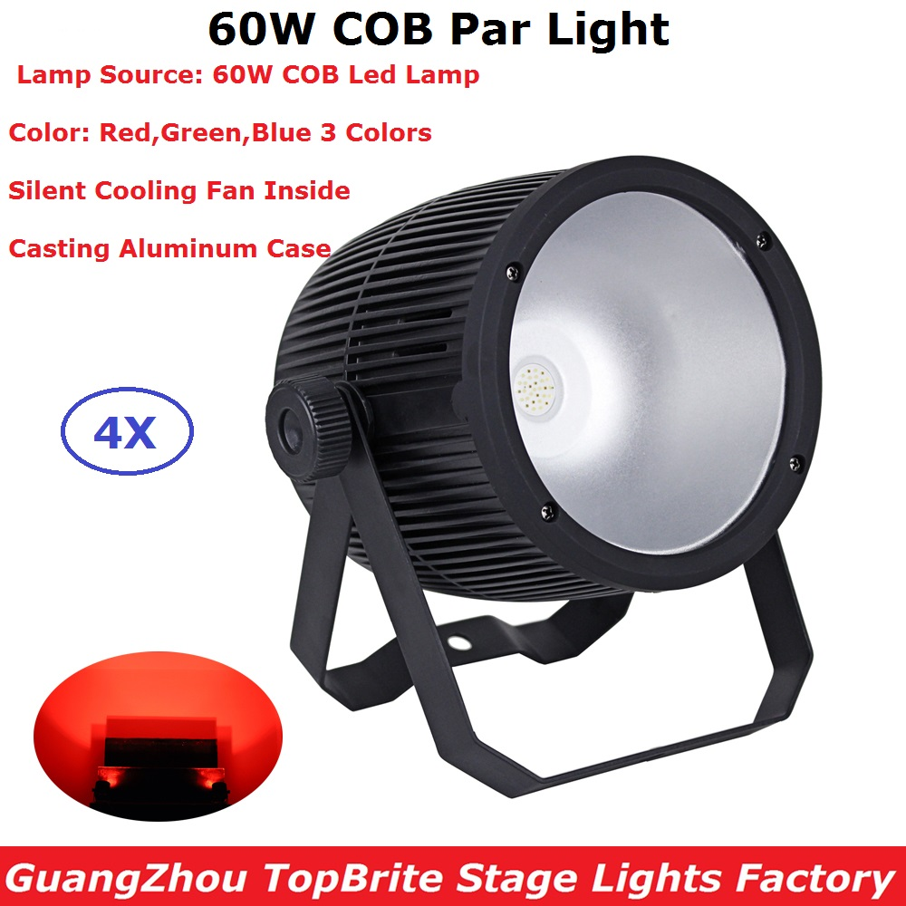 4XLot Fast Shipping 60W LED COB Par Light RGB Full Color Studio Theater Washer Projector DMX Control Led Stage Lights