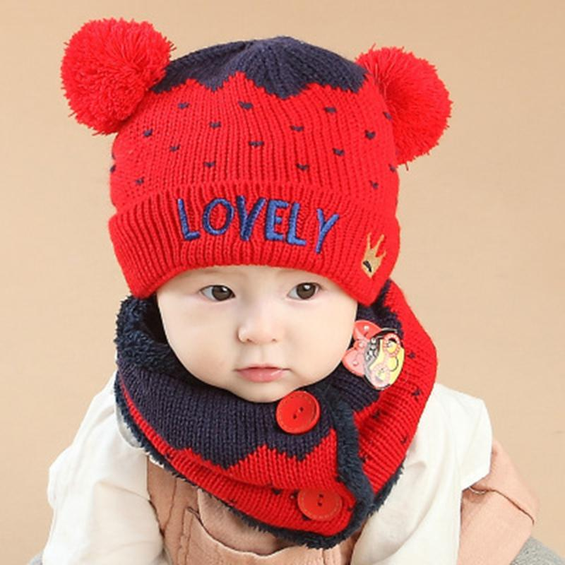 2 Piece/ Set Hat Scarf Baby Winter Cap Lovely Knit Beanie Bonnet Warm Hats for Children Neck Warmer Photography Props