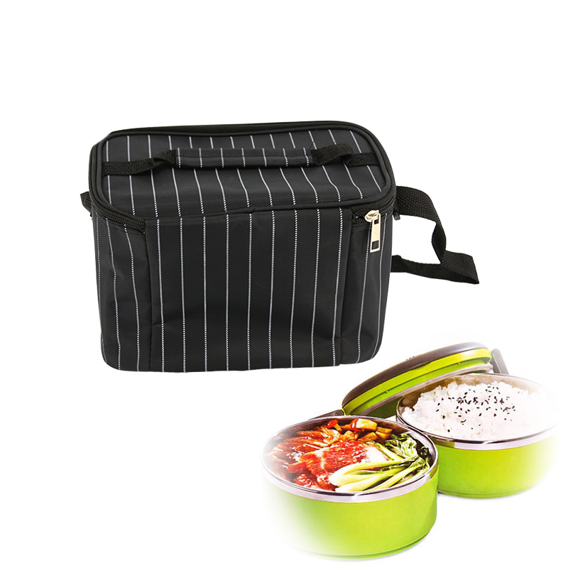Yesello Large Capacity Black Striped Thermal Insulated Storage Bag Organizer For Food Drink Lunch