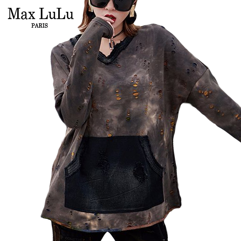 Max LuLu Luxury Punk Brand Girls Denim Tee Shirts Womens V Neck T shirt Holes Jeans