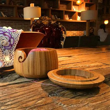 Yarn Holder For Crochet | Wooden Bamboo Yarn Bowl Holder With Lid For Yarn Skeins Knitting Crochet Home