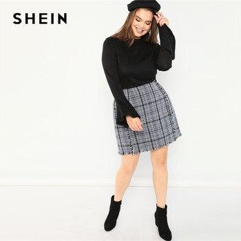 SHEIN Plus Size Frayed Trim Hem High Waist Blue Plaid Tweed Mini A-Line Skirt Women High Street Short Skirt