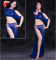 Girls Belly Dance Stage Clothes SetWomen Belly Dancing Clothes Sexy Half Short Sleeves Top Long Skirt