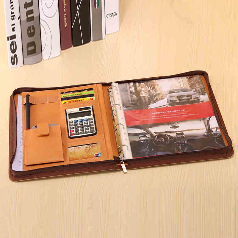 Nouveau A4 PU cuir d'affaires bureau gestionnaire dossier avec fermeture à glissière en cuir synthétique classeur conférence dossier sac mallette 1159