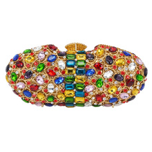 Großhandel Multicolor Diamant Luxus Erfasst Abend Handtasche Frauen Party Prom geldbörse sparkly diamante Hochzeit Fest tasche SC490