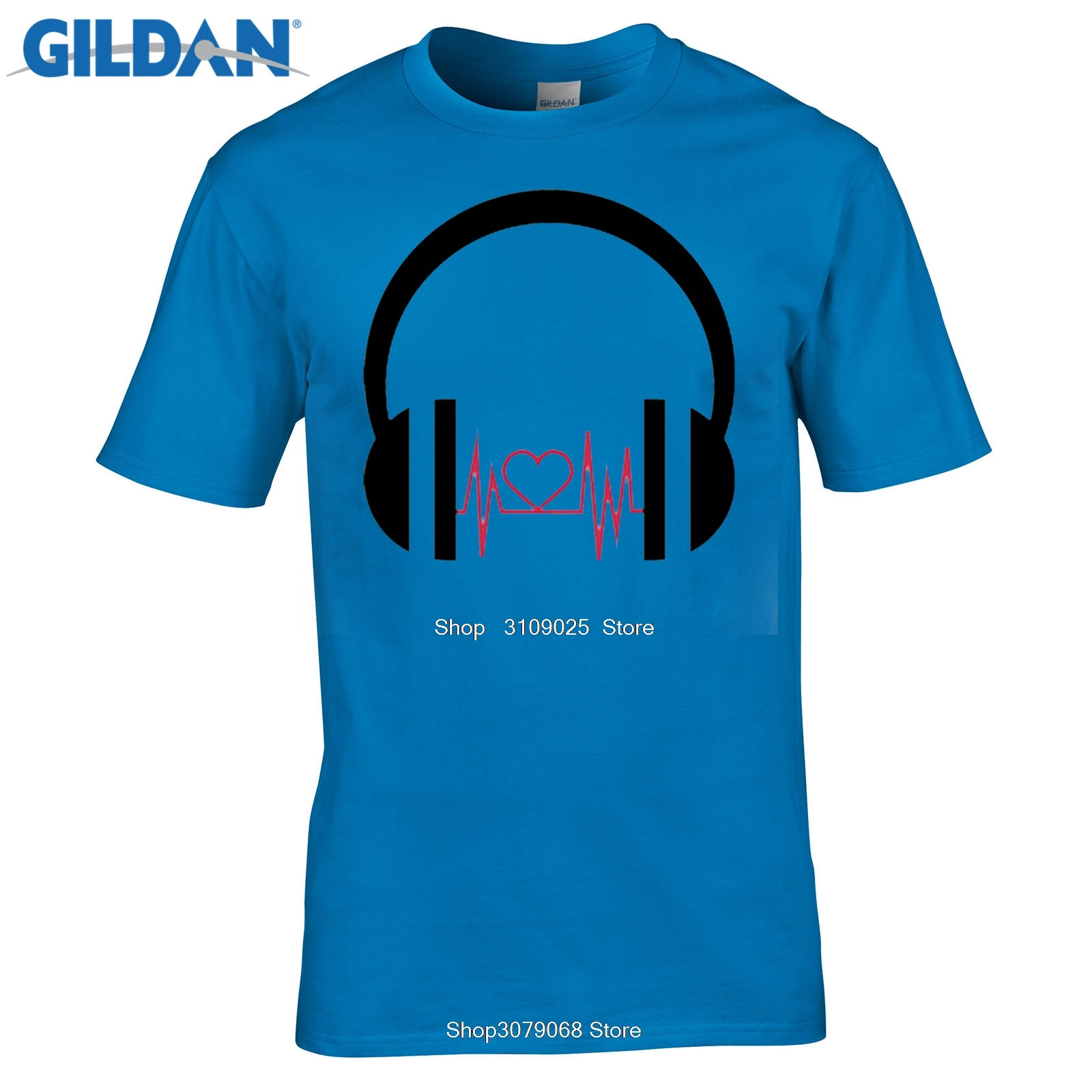 GILDAN Summer DJ Cartoon Love Wave Printed T-shirts Men Casual Fit O-Neck Cotton Men T Shirts Pap Hip Hop Short Sleeve Tees