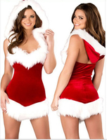 2016 Women Sexy Christmas Festival Cosplay Costumes Female Red Corduroy Halloween Uniform Role Playing For Adult