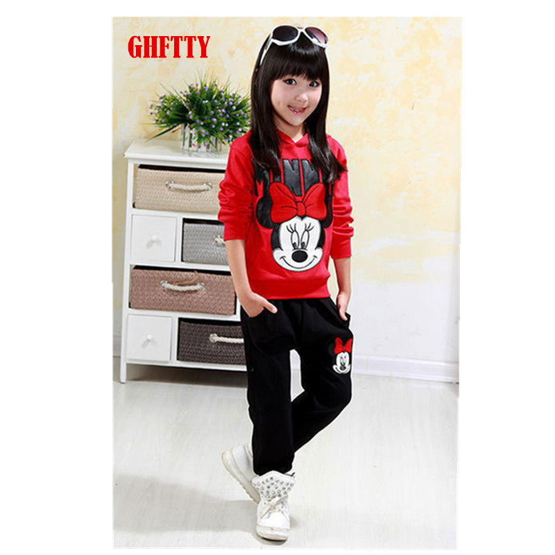 2015 autumn winter girls clothing sets cartoon minnie mouse children's wear cotton casual tracksuits kids clothes sports suit