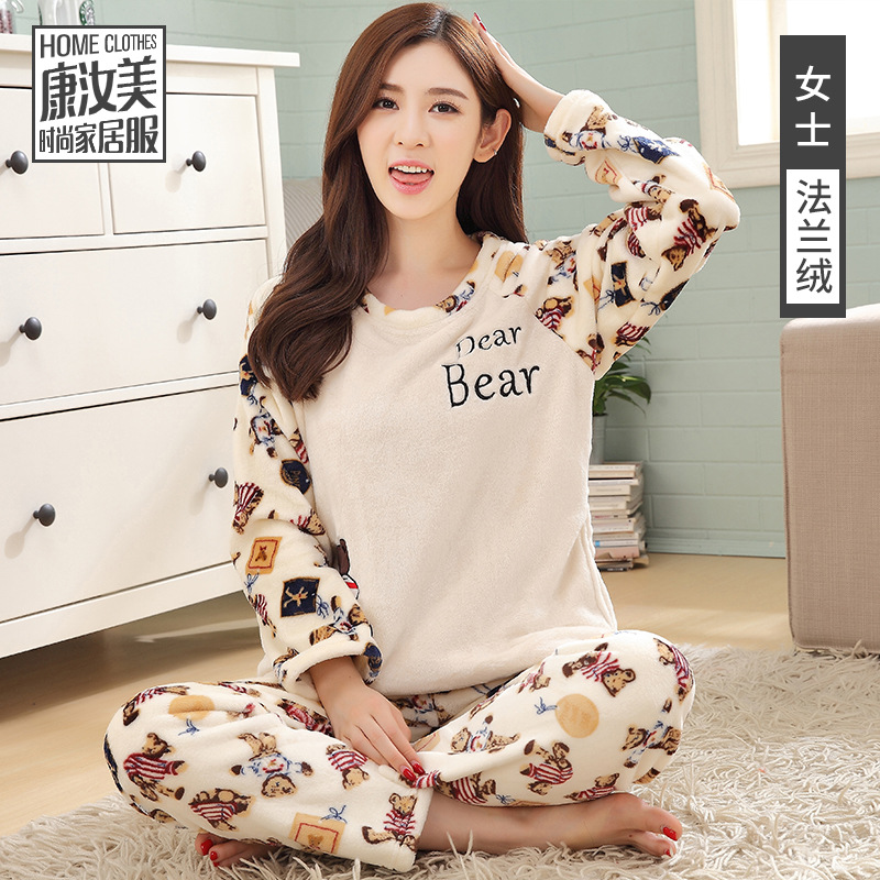 ... Sleepwear Cute Bear Winter Female Pajamas Flannel Female Suit Velvet  Thick Pyjamas Women Warm Casual Soft Two Piece. Sold Out. Previous 27b94984d