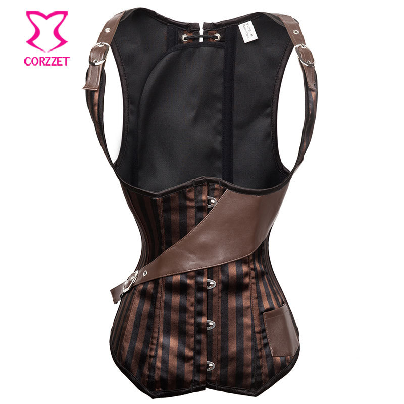 Brown/Black Striped Satin Cupless Steampunk   Corsets   and   Bustiers   Steel Boned Underbust   Corset   Vest   Bustier   Sexy Corselet Gothic