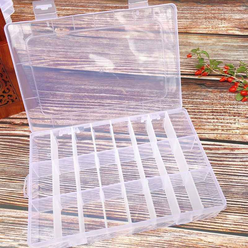 24 Compartment Storage Box Practical Adjustable Plastic Transparent Case for Bead Rings Jewelry Display Organizer Storage Box