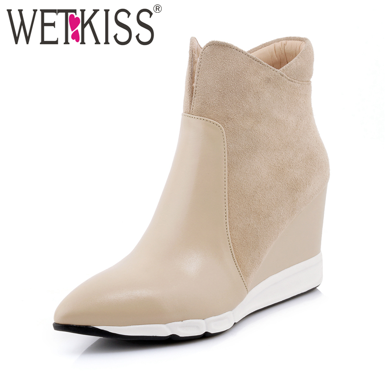 WETKISS 2018 Genuine Leather Women's Boots Side Zipper Pointed toe Wedges Shoes Woman Suede Autumn Ankle Boots Female Footear front lace up casual ankle boots autumn vintage brown new booties flat genuine leather suede shoes round toe fall female fashion