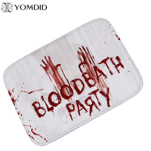 halloween floor mat bloodstains printing carpet bloodbath party suede bathroom mat kitchen rugs home decoration alfombras
