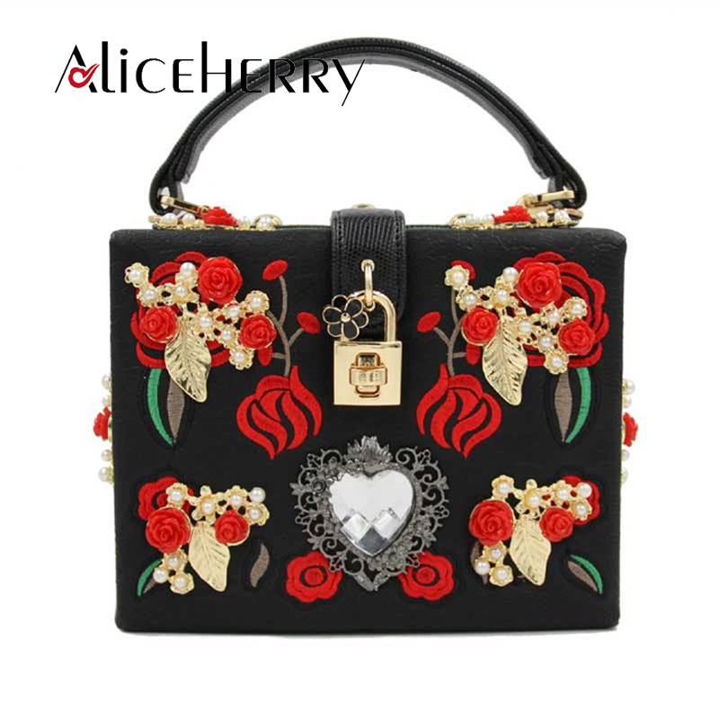 Aliceherry heart luxury diamond pearl rose embroidery party purse ladies shoulder bag Clutch Evening bag Mini Tote handbag Retro new arrived ladies pu leather retro handbag luxury women bag evening bag fashion black pearl chain shoulder bag party clutch bag